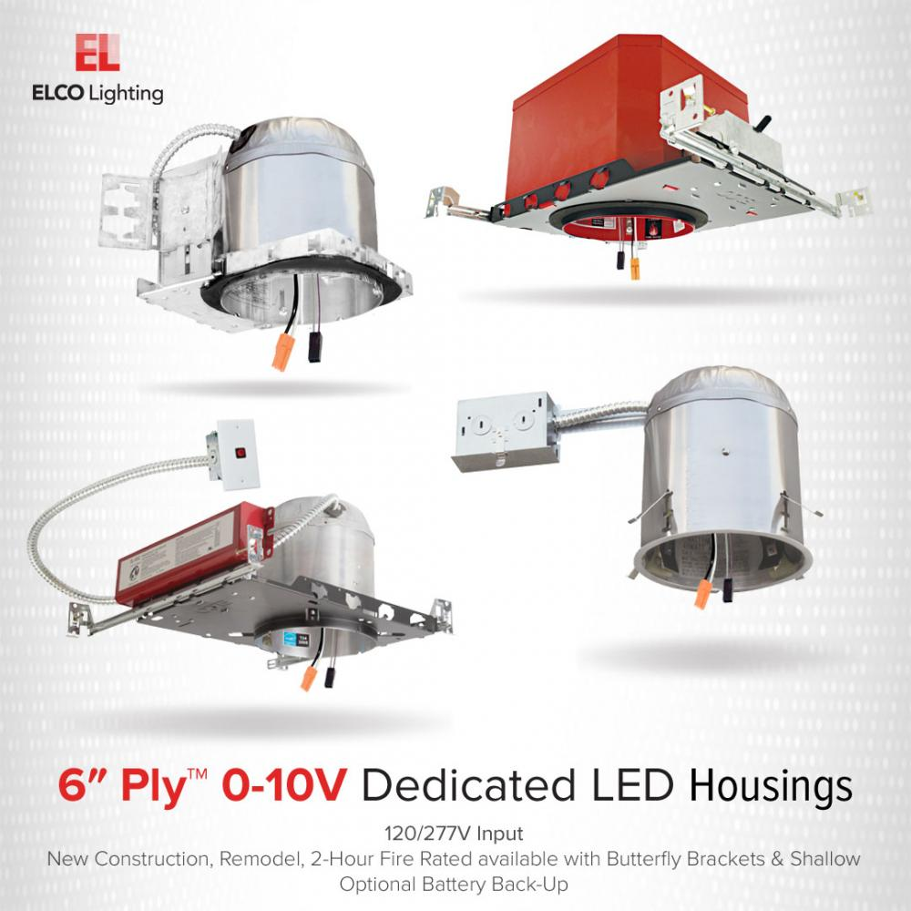 6″ 0-10V New Construction 2-Hour Fire Rated Dedicated LED Housings