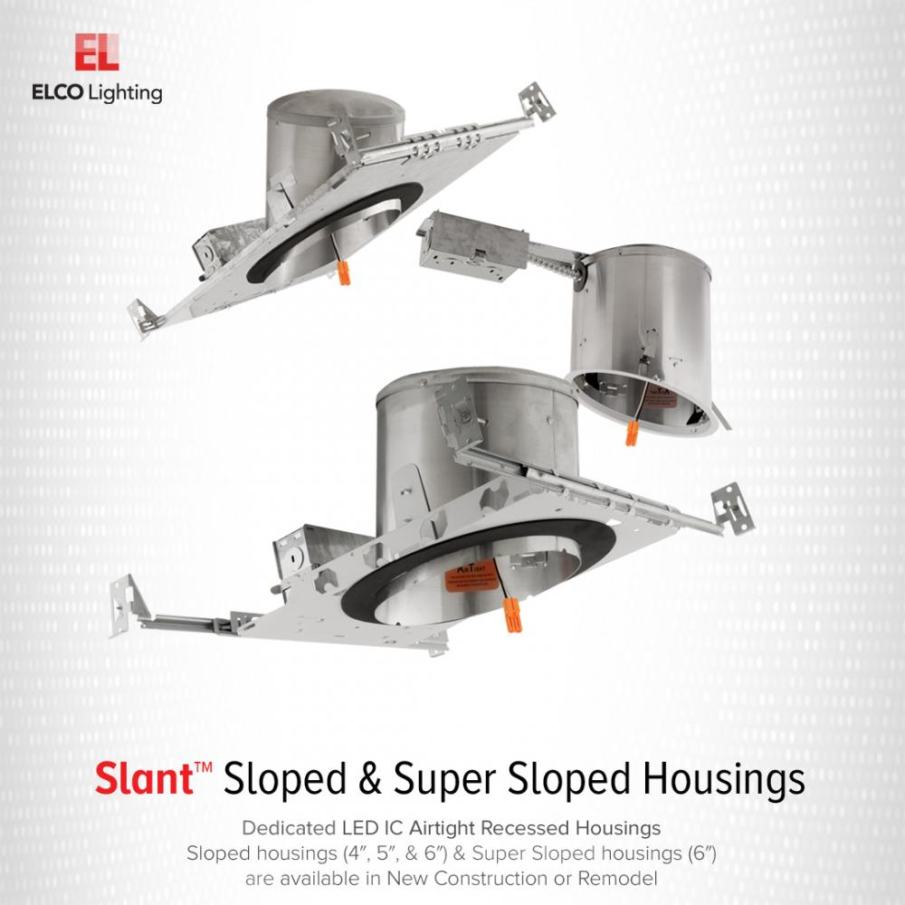 """5"""" Sloped Ceiling IC Airtight New Construction Housing"""