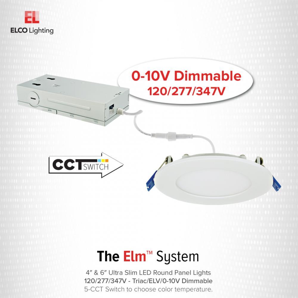 "4"" 120/277/347V Ultra Slim LED Round Panel Light with 5-CCT Switch"