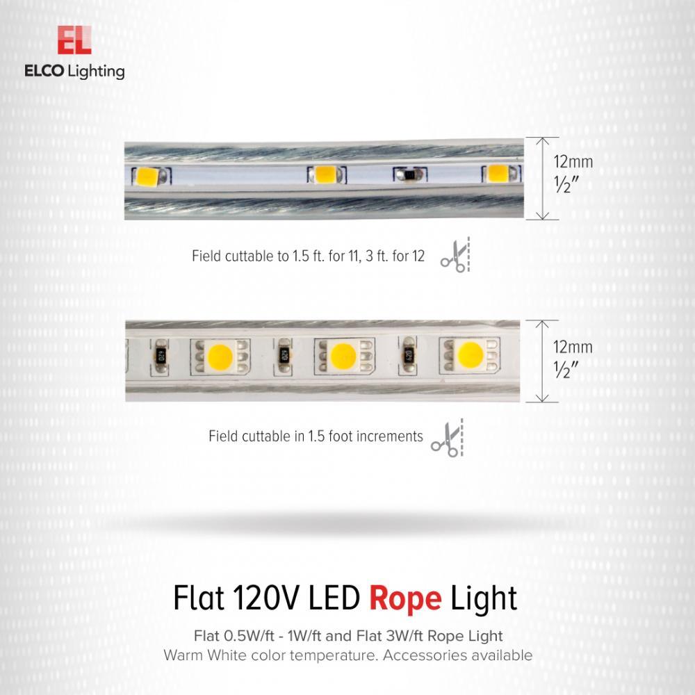 Flat 0.5W/ft. - 1W/ft. 120V LED Rope Light