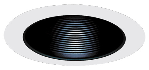 """6 Inch Par30 Adjustable Gimbal Ring Trim White Recessed: 5"""" Metal Stepped Baffle With Coil Springs Trim"""