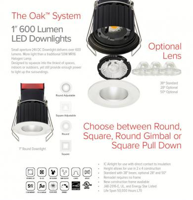 1″ 24V DC Round Recessed Oak™ Downlight