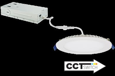 "6"" 120/277/347V Ultra Slim LED Round Panel Light with 5-CCT Switch"