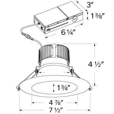 "6"" LED High Lumen Round Reflector Insert with 5-CCT Switch & 5-Lumen Switch"
