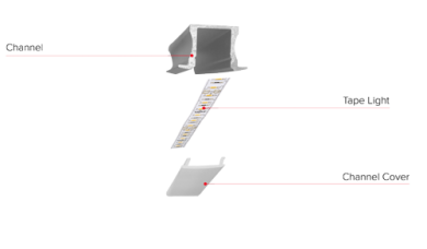 LED Tape with Shallow Recessed Mount Aluminum Channel